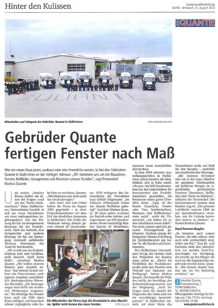 Gebrüder Quante Südkirchen - Presse