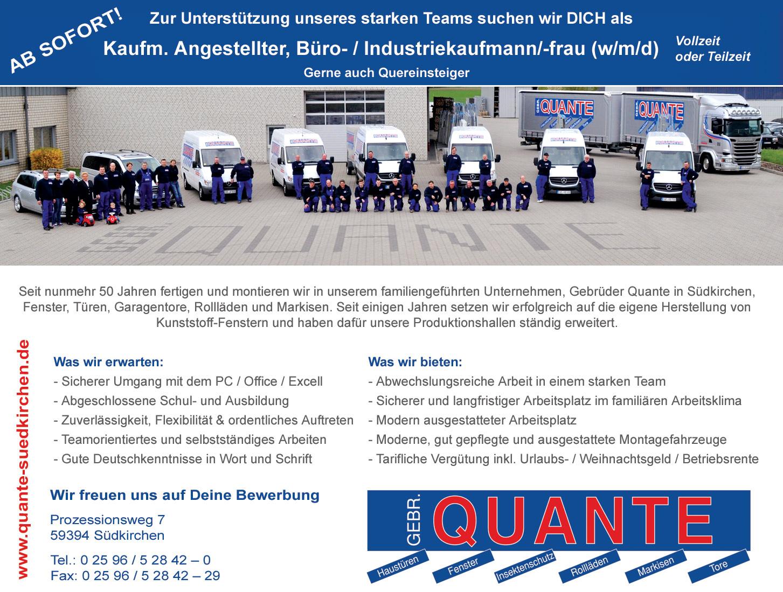 Gebrüder Quante Südkirchen | Stellenangebote Bürokaukmann