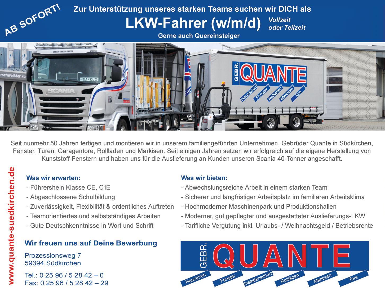 Gebrüder Quante Südkirchen | Stellenangebote LKW-Fahrer